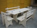 Produse din lemn pentru amenajari exterioare - masa dreptunghilara cu banci