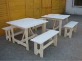 Produse din lemn pentru amenajari exterioare - masa patrata cu banci